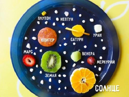 Sử dụng các loại trái cây khác nhau và cắt thành hình tròn để tạo nên một hệ mặt trời thu nhỏ. Hình ảnh gợi ý này sẽ giúp bạn sắp xếp vị trí các hành tinh một cách chính xác. Bằng cách này, con bạn sẽ có một món ăn tốt lành, bổ sung vitamin và còn học được tên của các hành tinh.